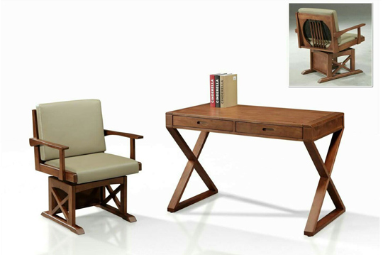 全實木南洋風書桌 皮面旋轉扶手椅