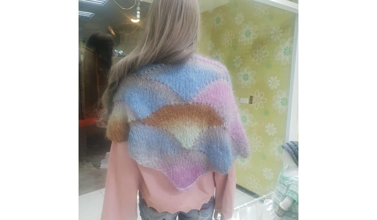 緞染扇形披肩